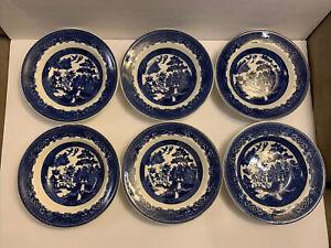 Rare-ANTIQUE-BLUE-WILLOW-Motif-Ironstone-Set-Of-6-Soup-Bowls-9-PATENTED-England