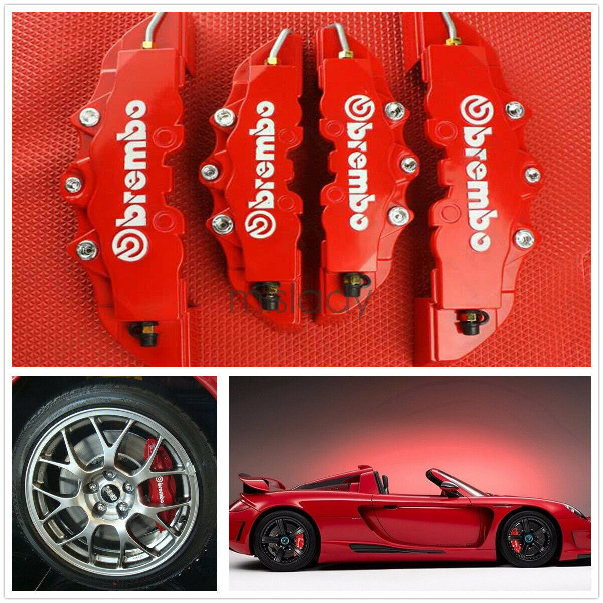 3D Red 4Pc Style Auto Universal Disc Brake Caliper Covers Front /& Rear