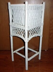 Vintage White Wicker Rattan Planter Plant Stand With Metal