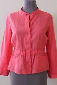 Eileen-Fisher-Jacket-M-Light-Weight-Irish-Linen-Pink-Mandarian-Collar-FREE-SHIP
