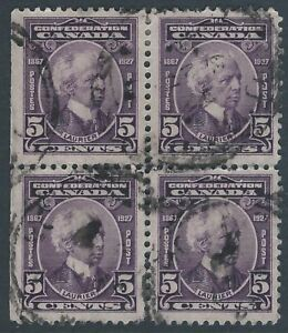 Scott-144-5-cent-Laurier-1927-Confederation-Issue-used-block-of-4-VF-CDS