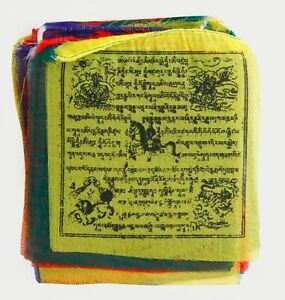 Ouvert D'Esprit Prière Drapeaux Du Népal, Petit, Paix-longueur Environ 3,80 M-afficher Le Titre D'origine Art De La Broderie Traditionnelle Exquise
