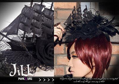 Goth visual Victorian SteamPunk Ghost ship pirate Fascinator hairclip JR044B