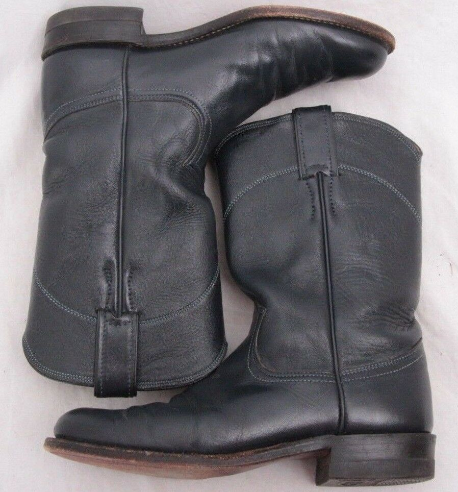 Justin L3057 Navy bluee Leather Pull On Western Roper cowboy Boot Women's U.S. 6B