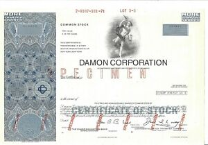 "Damon Corporation Abn "" Spécimen "" Commune Stock Certificat rvlRN4tD-09165410-271098747"