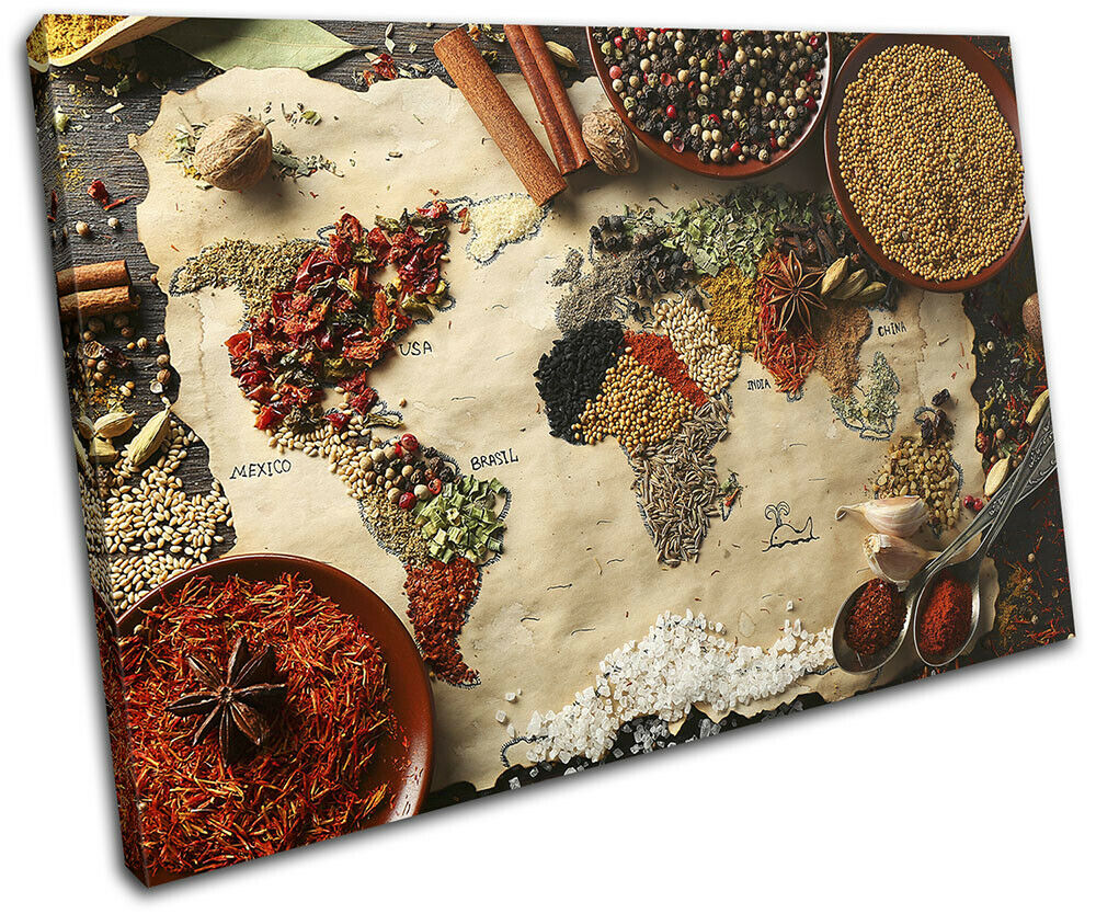 Spices World Map Atlas Food Kitchen SINGLE Leinwand Kunst Bild drucken