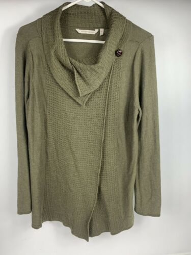 Soft Surroundings Women's Cardigan Olive Green Mir