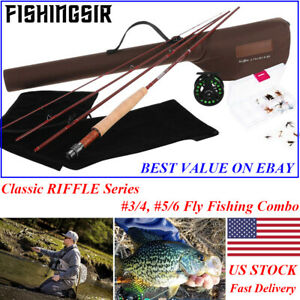Fishingsir Riffle Fly Fishing Rod Reel Combo 3 4 5 6wt Graphite Fly Rod Full Kit Ebay