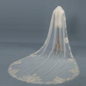 Wedding-Veils-Cathedral-1T-Comb-Bridal-Veil-Accessories-Champagne-Ivory-White