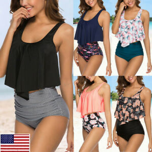Womens-Bikini-Set-High-Waisted-Swimsuit-Push-Up-Padded-Bra-Bathing-Suit-Swimwear