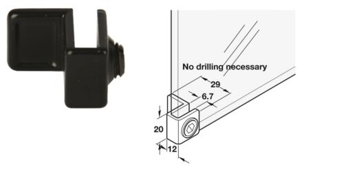 Glass Door Pull for Max.Glass Thickness 6.7mm Zinc Alloy Clamp fixing – Black