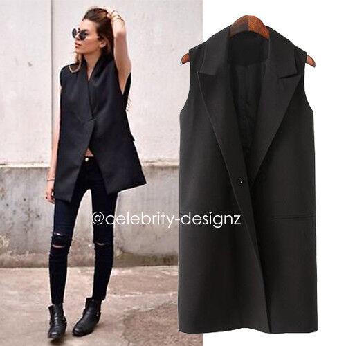v19 Plus Size Black Sleeveless Blazer Womens Vest Long Waistcoat Size 12 14 16