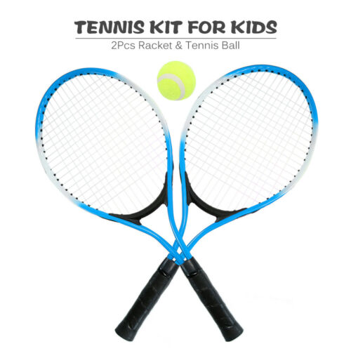 New Kids 2 Player Tennis Racquet Set with 1 Tennis Ball and Cover Bag UK L3P3