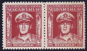 """General Macarthur Cinderella Poster Stamp Pair """"General of The Army"""" 1880-1964"""
