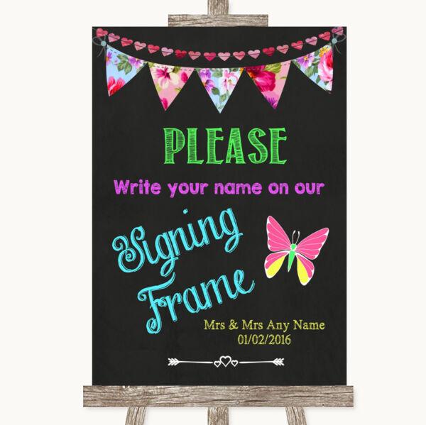 2019 Nuovo Stile Bright Bunting Gesso Firma Cornice Guestbook Matrimonio Personalizzati Segno Supplemento L'Energia Vitale E Il Nutrimento Yin