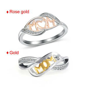 Heart-shaped-18k-Rose-Gold-MOM-Character-Sterling-Silver-Two-Tone-Love-Mum-Ring