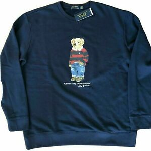 POLO-RALPH-LAUREN-Men-039-s-SZ-XL-Navy-Blue-Denim-Rugby-Bear-Crew-Sweatshirt
