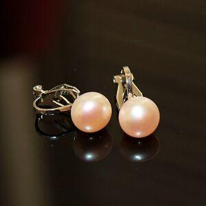 Boucles-d-039-Oreilles-en-Clip-on-Perle-Culture-d-Eau-Douce-Blanc-Rose-Gris-TZ2-C10