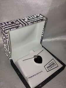 Women-039-s-Heart-Necklace-Pendant-Purple-Swarovski-Element-Silver-Plate-18-034-60-NEW