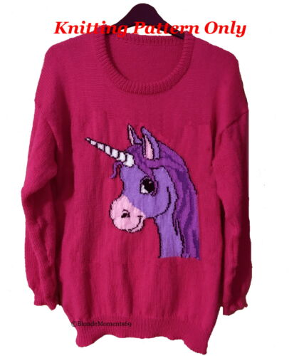 Childrens /& Adults Cute Unicorn Jumper Sweater Knitting Pattern #1 Intarsia
