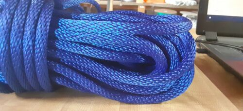 """Made in USA 3//8"""" x 100 ft Blue Solid Braid MFP Rope Hank"""