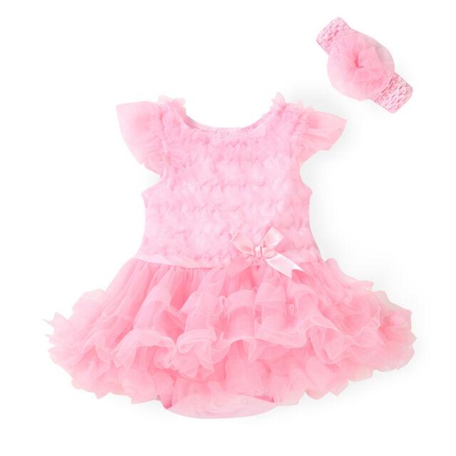 2pcs Newborn Bodysuit Infant Tutu Clothes Baby Girl Headband+Romper Set 0-3M