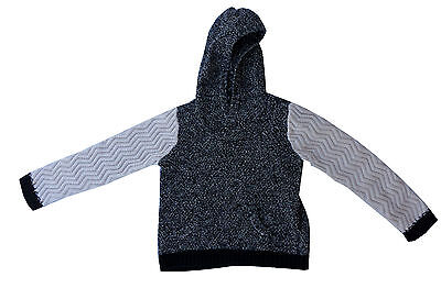 Boys 4T Driving Force Hooded Pullover Sweater Black White Cable Knit Sleeves