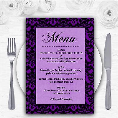 Cadbury Purple Vintage Floral Damask Diamante Personalised RSVP Cards