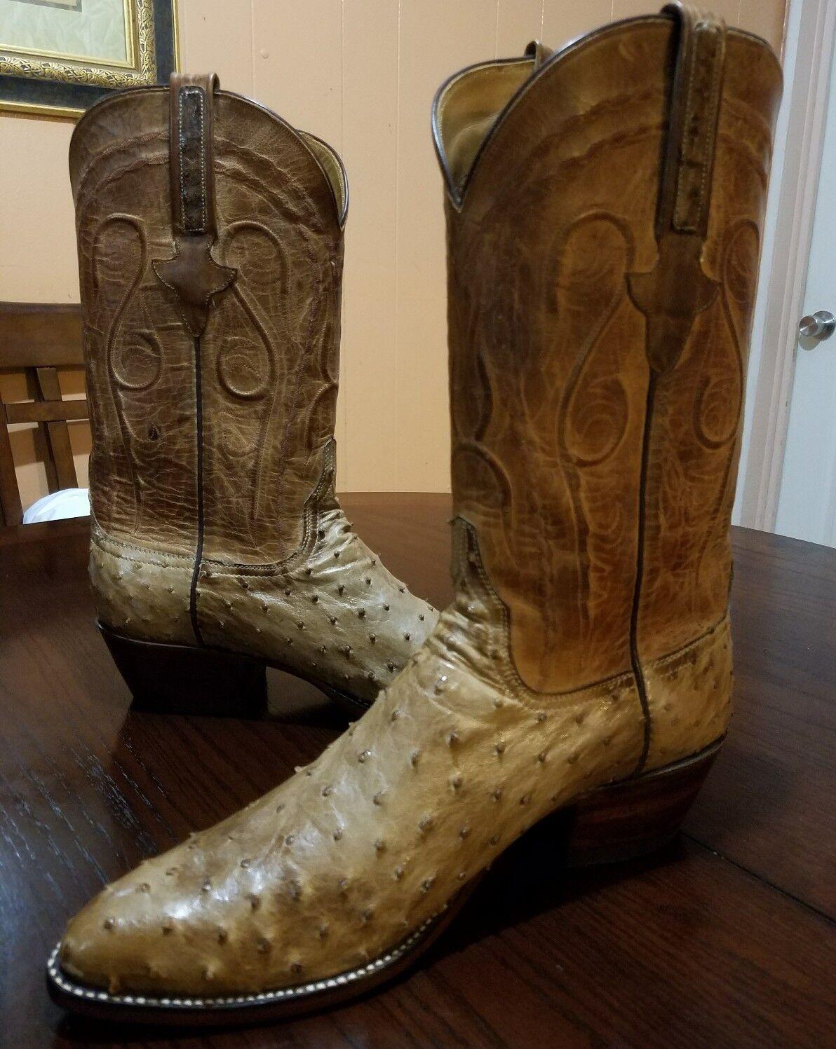 Lucchese Hand Made Men Barn wood Full Quill Ostrich Western Stiefel Größe 10.5 D