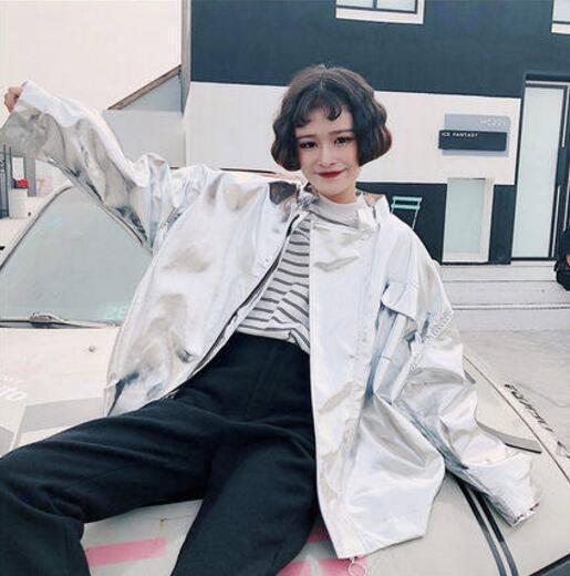 Oversize Womens Shiny Oversize Coat Baseball Uniform Loose Windbreaker Windbreaker Windbreaker Outwear bc1cd7
