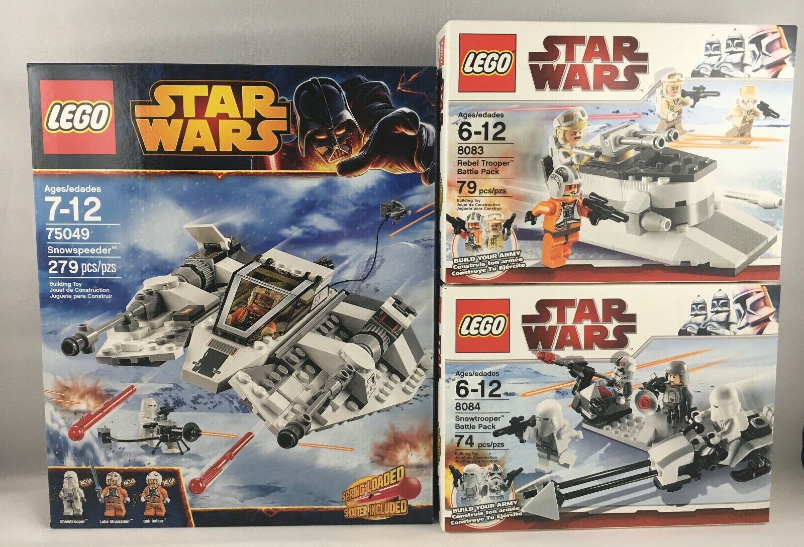 Lote de 3 Lego Estrella Wars 75049 Snowspeeder + 8083 Rebel + 8084 Snowtrooper Sellado