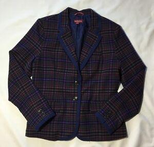 Women-039-s-Merona-Navy-Blue-Plaid-Wool-Blend-Blazer-Jacket-Size-12