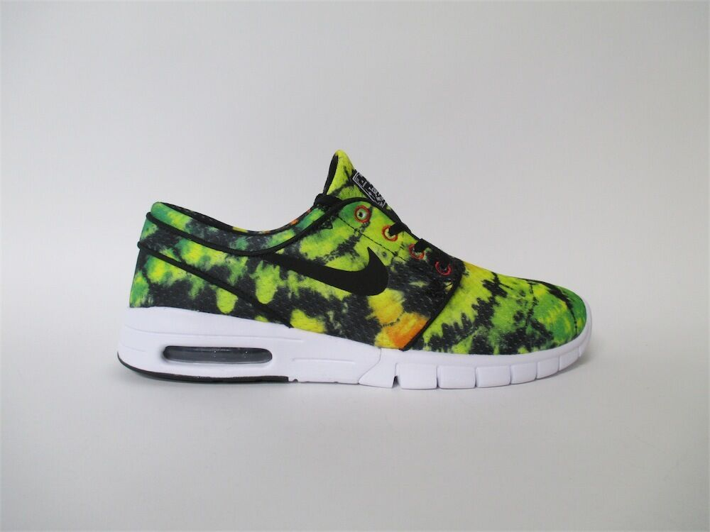 Nike SB Janoski Max Yellow Green Black White Tye Dye Sz 11.5 807497-703
