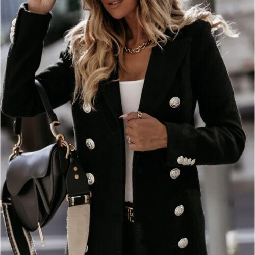 Women Warm Woolen Lapel Long Coat Blazer Suit Trench Parka Jacket Formal Outwear