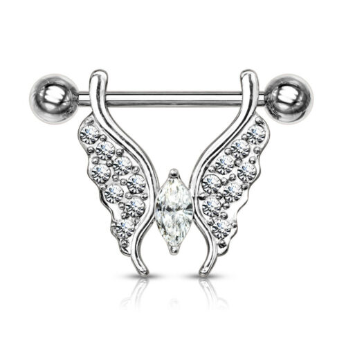 PAIR Crystal Gem Paved Butterfly Dangle Nipple Rings Shields Body Jewelry
