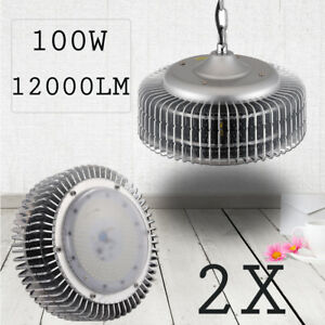 2X LED High Bay Light 100Watts Warehouse Factory Industrial Shop Lamp Fixtures