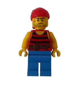 Lego-Pirat-rotes-Tuch-gestreiftes-Shirt-blaue-Beine-Minifigur-Figur-pi161-Neu