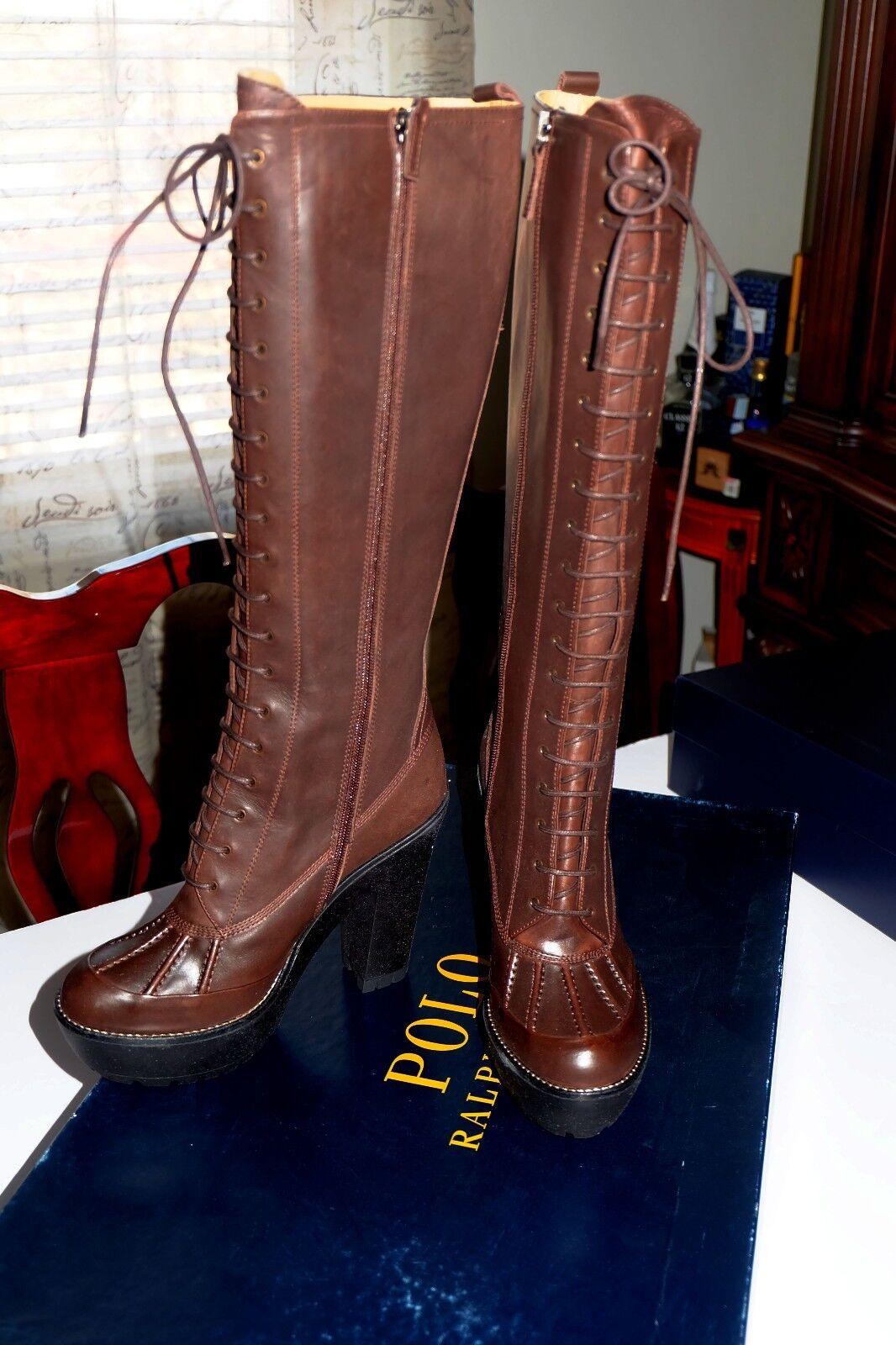 Garanzia del prezzo al 100%  695 NIB Authentic Authentic Authentic Polo RALPH LAUREN Helma Marrone Burnished Calf stivali,Sz 8,Spain  comprare a buon mercato