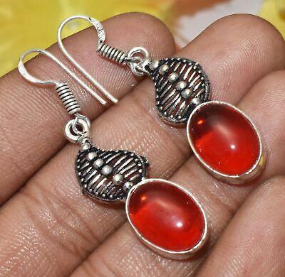 Coral Gemstone Dangle Earring 925 Silver Plated U313-E196