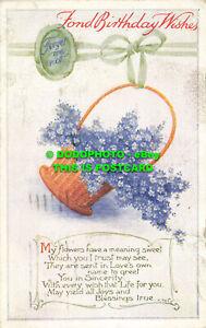 R558912 Fond Birthday Wishes. Basket with blue flowers. B. B. Empire Series No.