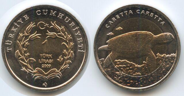 G3488 - Turkey 1 Lira 2009 KM#1264 UNC Loggerhead Sea Turtle Türkei