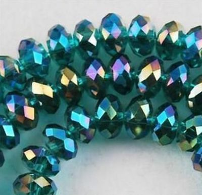 1000pcs 3x4mm Peacock Green Crystal Faceted Loose Beads AAA