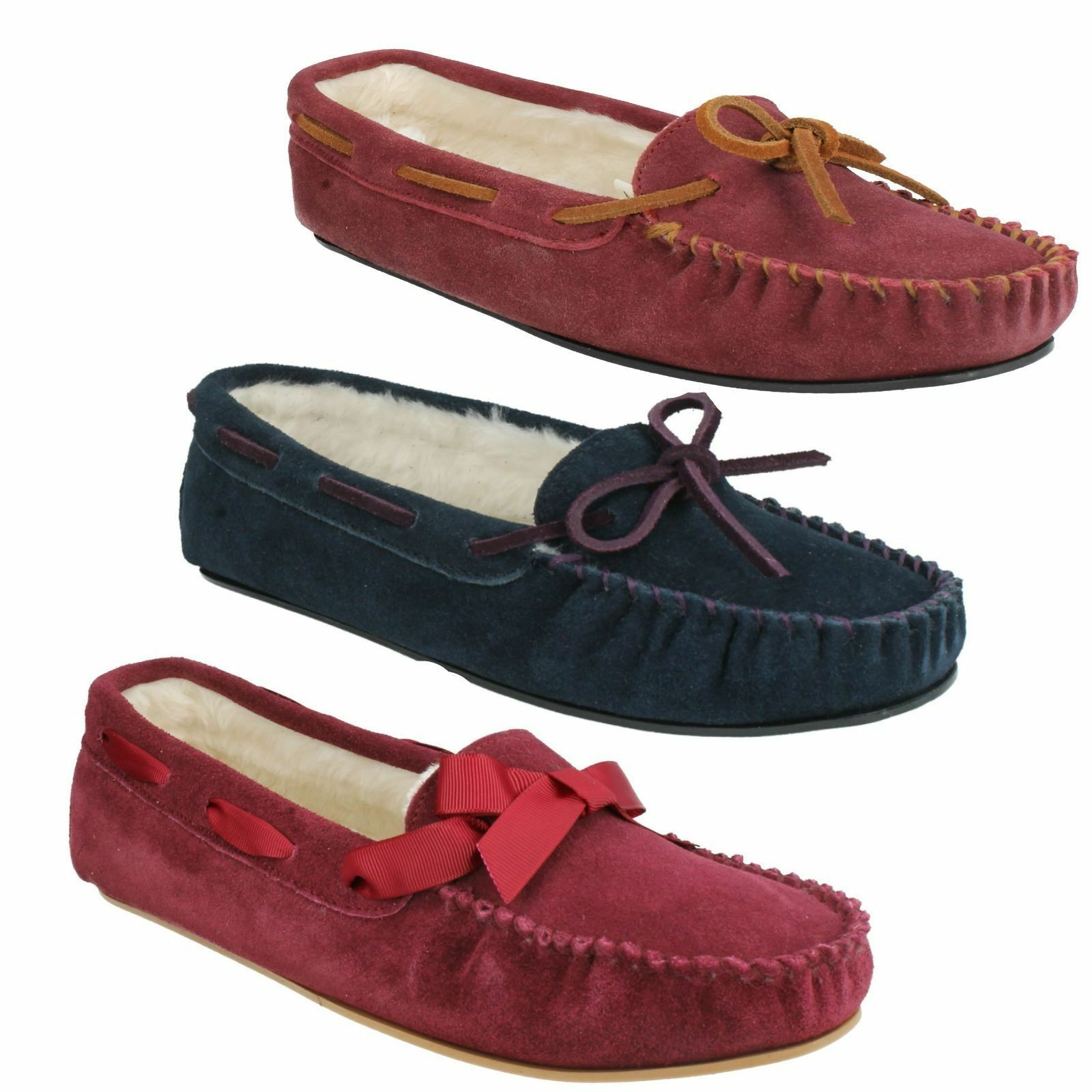 LADIES  K BY CLARKS WAKE ME SOFT FUR MOCCASIN SUEDE LEATHER INDOOR WARM SLIPPERS