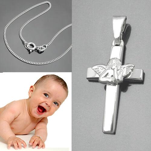Schutzengel Kreuz Anhänger Echt Silber 925 rhodiniert mit Kette Länge wählbar