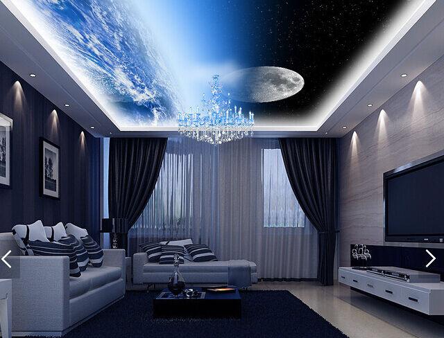 3D Moon Sky Snow 843 Ceiling WallPaper Murals Wall Print Decal Deco AJ WALLPAPER