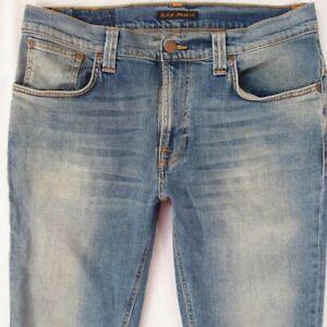 Hommes-Nudie-Mince-Finn-Extensible-Droit-Slim-Jeans-Bleu-W34-L34