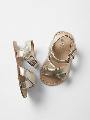 GAP Baby Girls Size 0-3 Months Metallic Gold Cross-Strap Sandals Flats Shoes