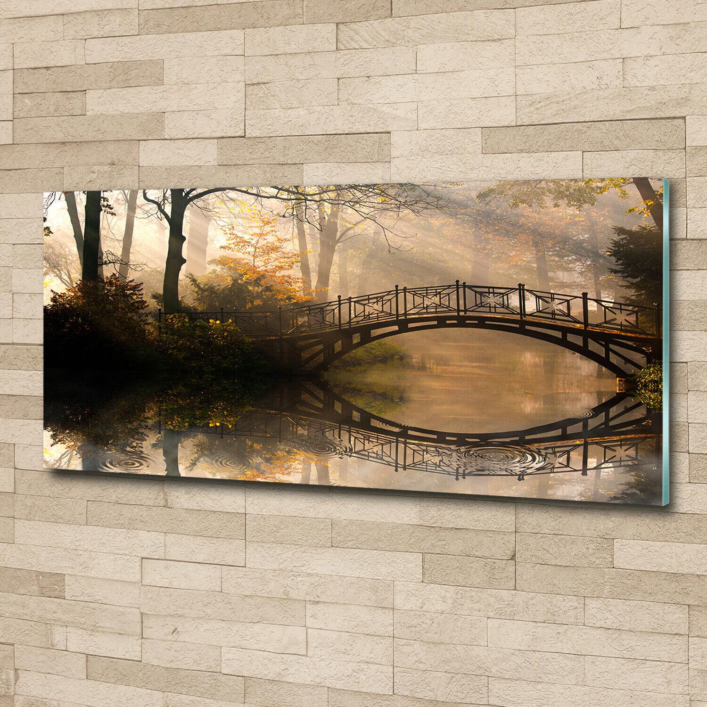 Acrylglas-Bild Wandbilder Druck 125x50 Deko Landschaften Alte Brücke Herbst