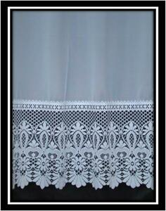 Pesado Encaje Base Plain Net Blanco neto Cortina de 36 &#034;Drop a 90&#034; Drop  </span>