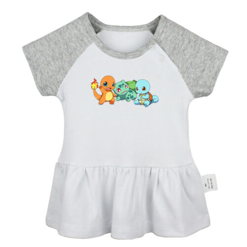 Cute Cartoon Pokemon Squirtle Bulbasaur Charmander Baby Girl Dresses Clothes